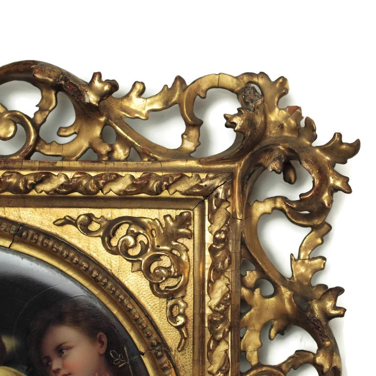 Giltwood 19th Century Signed Porcelain Plaque after Madonna Della Seggiola by Raphael For Sale