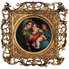 19th Century Signed Porcelain Plaque after Madonna Della Seggiola by Raphael