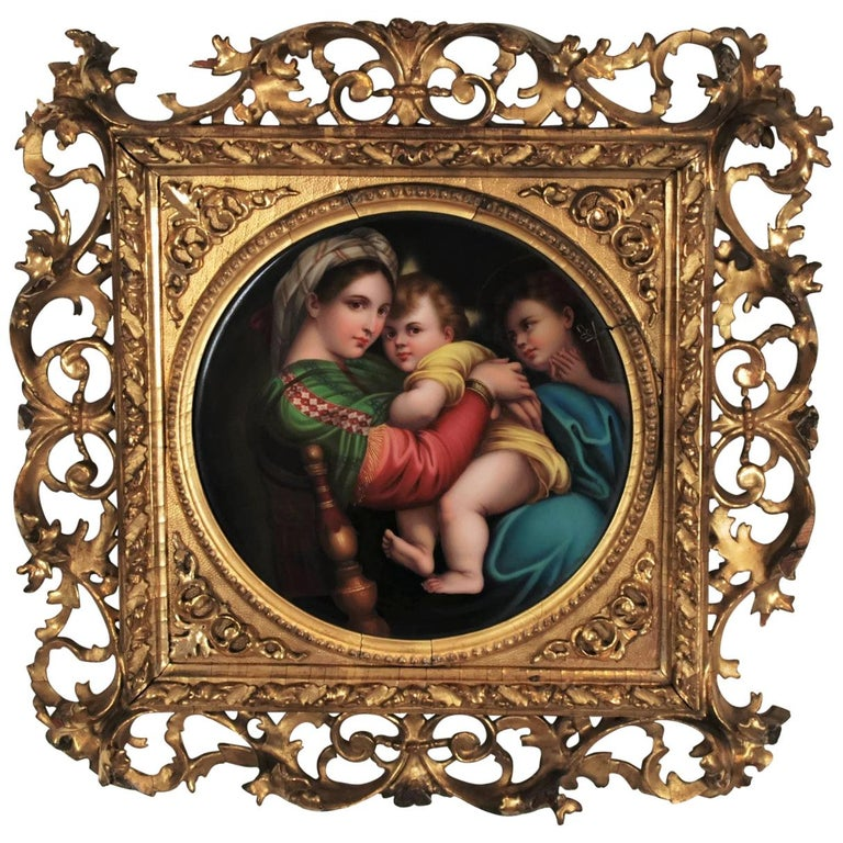 19th Century Signed Porcelain Plaque after Madonna Della Seggiola by Raphael For Sale