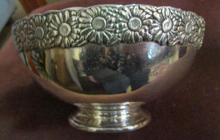 Late Victorian 19th Century Signed Tiffany Vine Pattern Sterling Silver Bowl For Sale