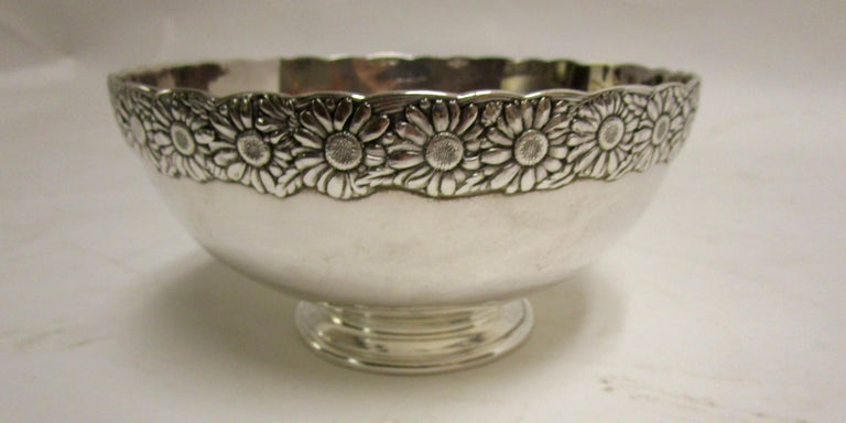 19th Century Signed Tiffany Vine Pattern Sterling Silver Bowl For Sale 2