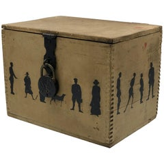 19th Century Silhouette Painted Wooden Box