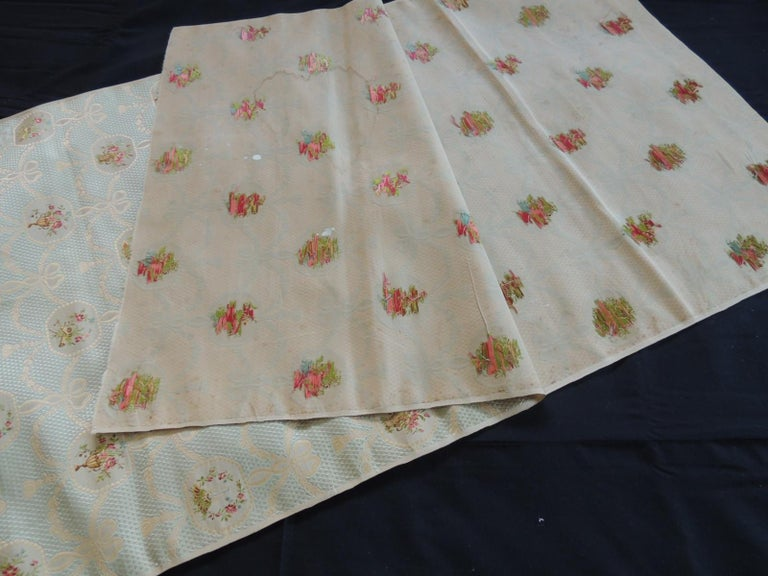 19th Century Silk Brocade Floral Gold and Celadon Textile Panel In Good Condition For Sale In Fort Lauderdale, FL