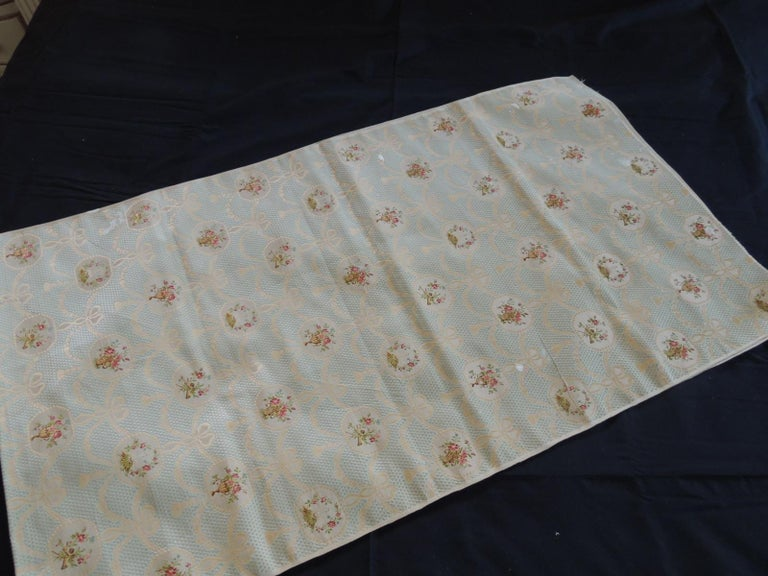 19th Century Silk Brocade Floral Gold and Celadon Textile Panel For Sale 1