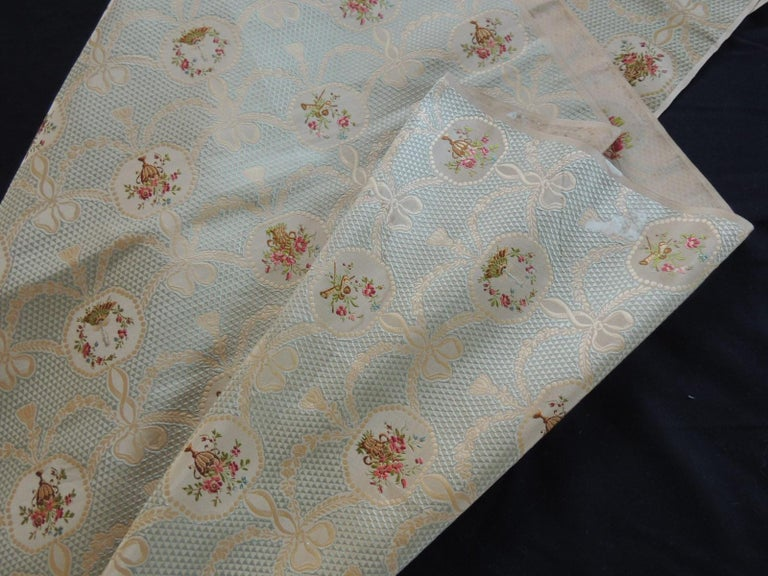 19th Century Silk Brocade Floral Gold and Celadon Textile Panel For Sale 2