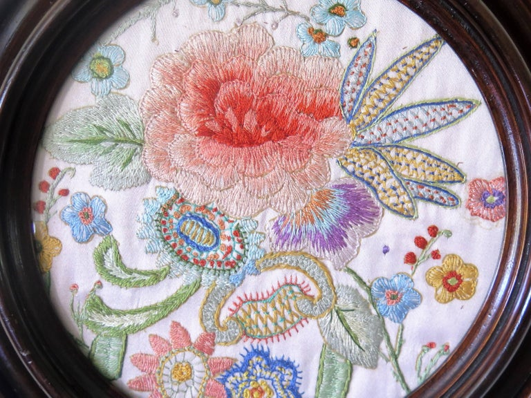 19th Century Silk Embroidered Needlepoint Panel in Original Mahogany Round Frame For Sale 6