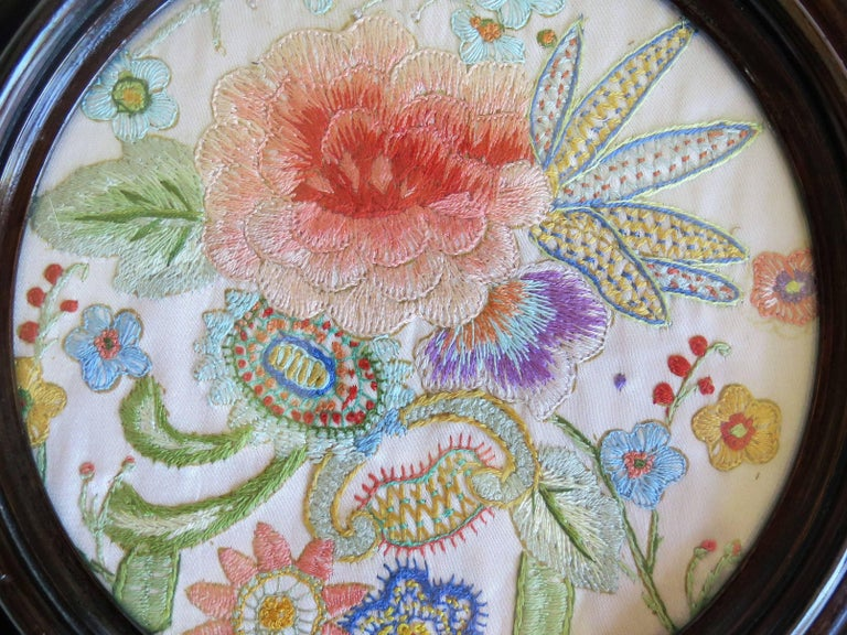 19th Century Silk Embroidered Needlepoint Panel in Original Mahogany Round Frame For Sale 7