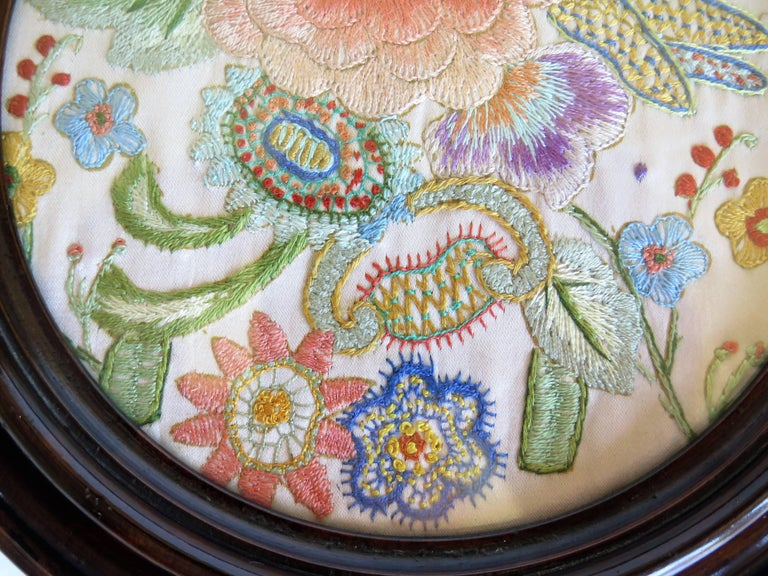 19th Century Silk Embroidered Needlepoint Panel in Original Mahogany Round Frame For Sale 11