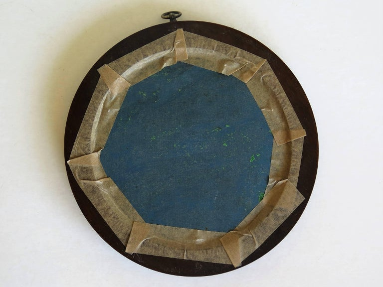 19th Century Silk Embroidered Needlepoint Panel in Original Mahogany Round Frame For Sale 13
