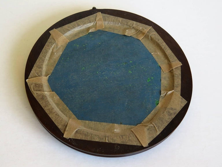 19th Century Silk Embroidered Needlepoint Panel in Original Mahogany Round Frame For Sale 14