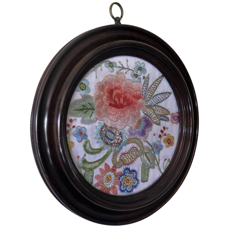 19th Century Silk Embroidered Needlepoint Panel in Original Mahogany Round Frame For Sale