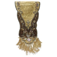 19th Century Silk Embroidery Byzantine Damask and Velvet Table Runner