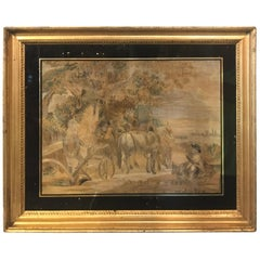 19th Century Silk Embroidery in Gold Gilt Frame