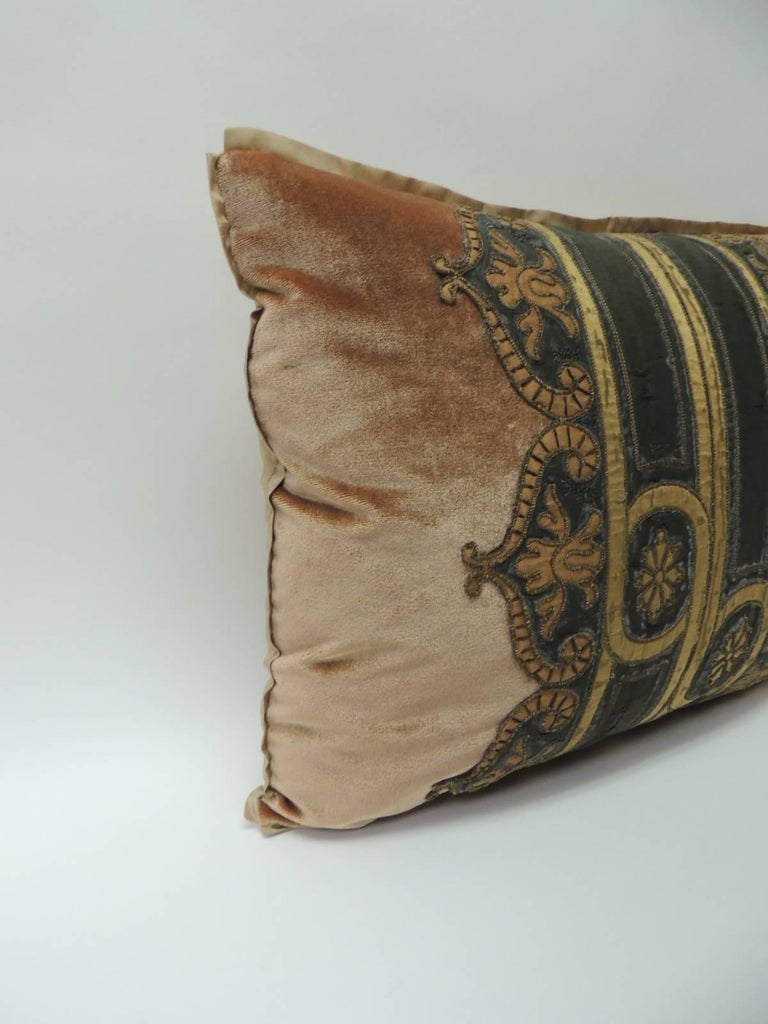 19th century silk golden velvet with French silk woven velvet ribbon decorative pillow Bolster throw pillow handcrafted with golden silk velvet framed with a French green and gold woven embroidered deco inspired trim. Art Deco style trim exhibits a