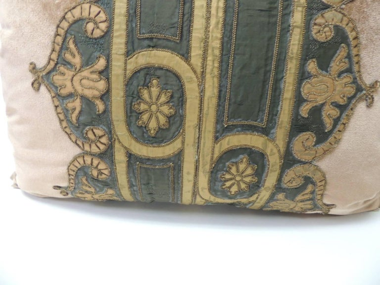 Regency 19th Century Silk Golden Velvet with French Silk Woven Ribbon Decorative Pillow For Sale