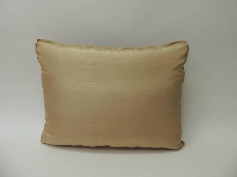 Hand-Crafted 19th Century Silk Golden Velvet with French Silk Woven Ribbon Decorative Pillow For Sale