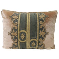 19th Century Silk Golden Velvet with French Silk Woven Ribbon Decorative Pillow