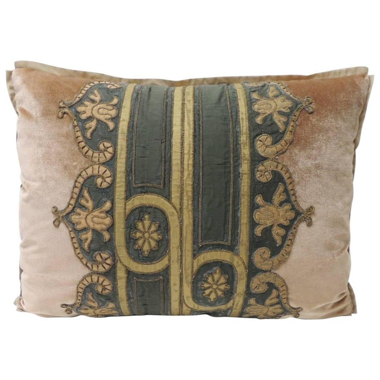 19th Century Silk Golden Velvet with French Silk Woven Ribbon Decorative Pillow For Sale
