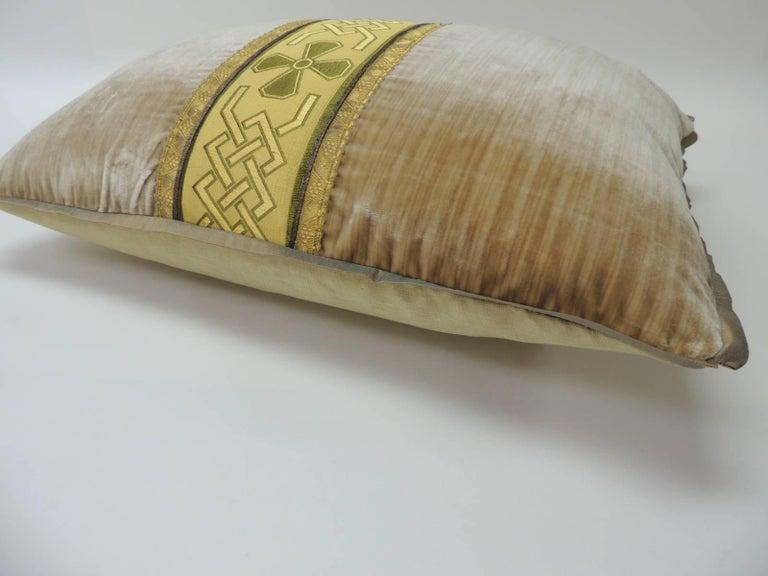 Regency 19th Century Silk Golden Velvet with French Silk Woven Ribbon Throw Pillow For Sale