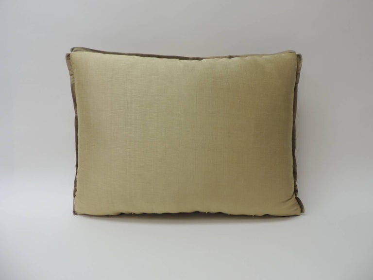 Hand-Crafted 19th Century Silk Golden Velvet with French Silk Woven Ribbon Throw Pillow For Sale