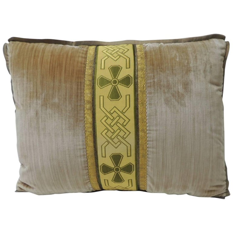 19th Century Silk Golden Velvet with French Silk Woven Ribbon Throw Pillow For Sale