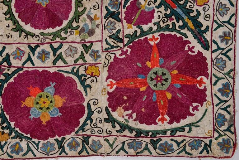 19th Century Silk Road Suzani Embroidery For Sale 3