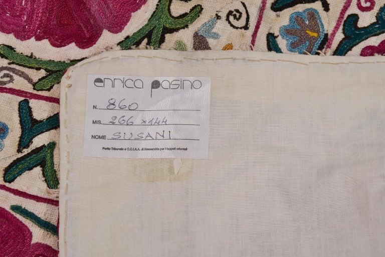 Turkmen 19th Century Silk Road Suzani Embroidery For Sale