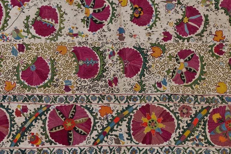 Hand-Woven 19th Century Silk Road Suzani Embroidery For Sale