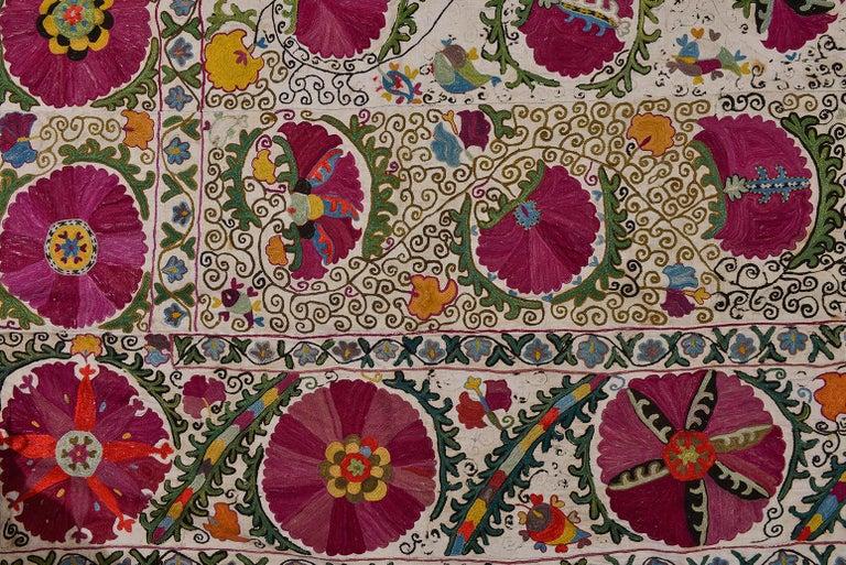19th Century Silk Road Suzani Embroidery In Fair Condition For Sale In Alessandria, Piemonte