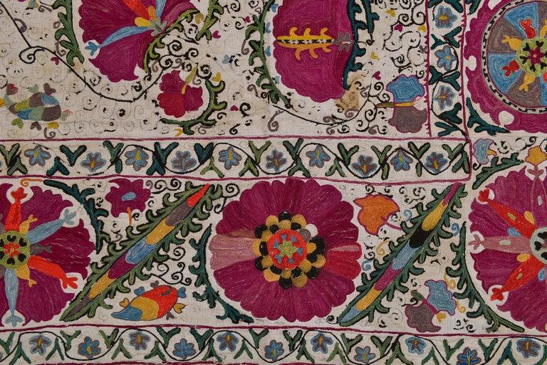 Canvas 19th Century Silk Road Suzani Embroidery For Sale
