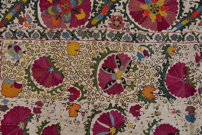 19th Century Silk Road Suzani Embroidery For Sale 1