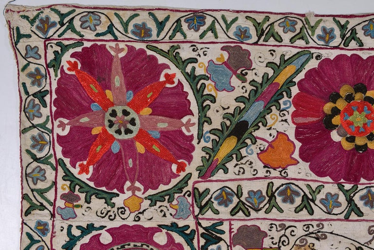 19th Century Silk Road Suzani Embroidery For Sale 2