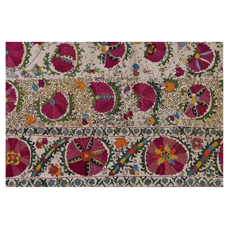 19th Century Silk Road Suzani Embroidery For Sale