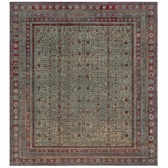 19th Century Silk Samarkand Rug in Beige, Green, and Purple