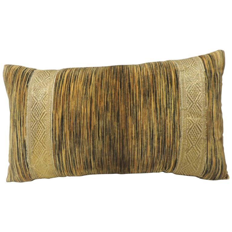 French 19th Century Silk Velvet Bolster Decorative Pillow with Antique Trim For Sale