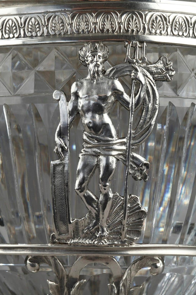 Empire 19th Century Silver and Cut Crystal Candy Dish For Sale