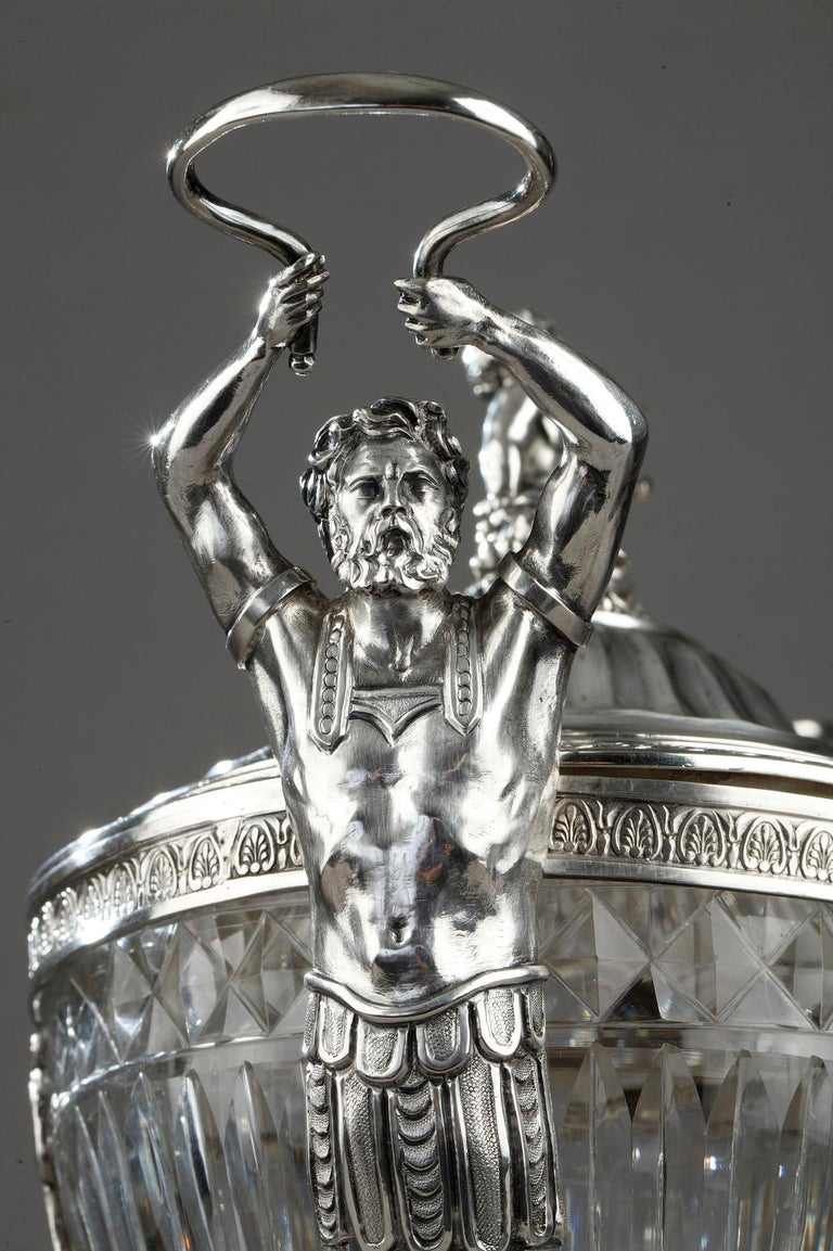 19th Century Silver and Cut Crystal Candy Dish For Sale 1