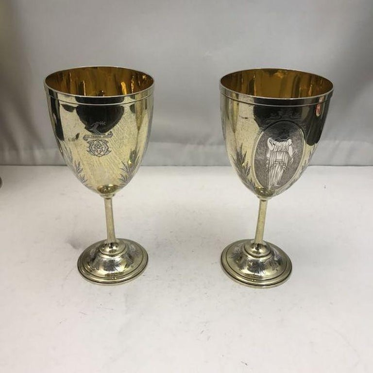 Victorian 19th Century Silver and Gilt Ewer with Matching Goblets For Sale