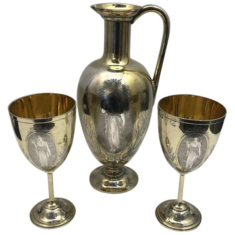 19th Century Silver and Gilt Ewer with Matching Goblets For Sale