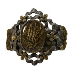 19th Century Silver and Vermeil Bracelet with Golden Initials