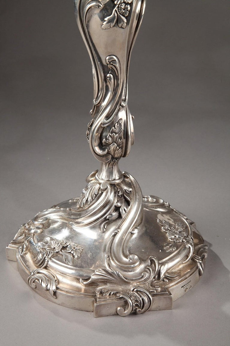 Louis XV 19th Century Silver Candelabra Signed BOIN TABURET For Sale