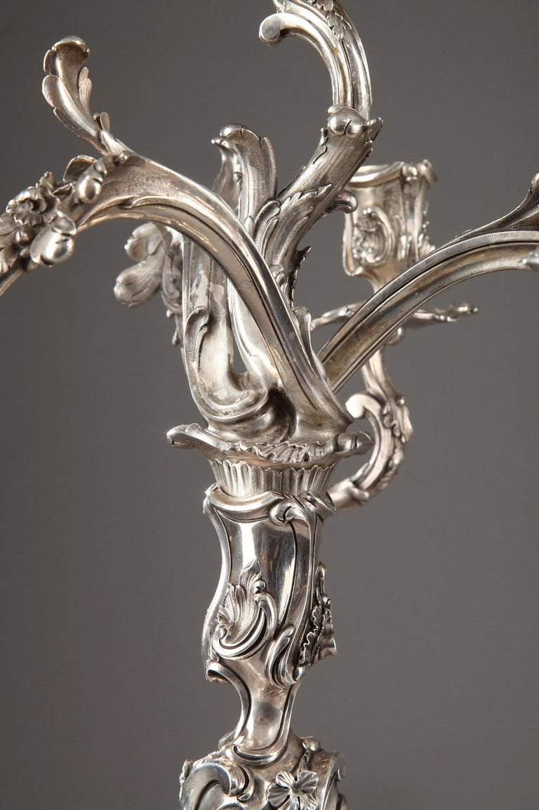 French 19th Century Silver Candelabra Signed BOIN TABURET For Sale