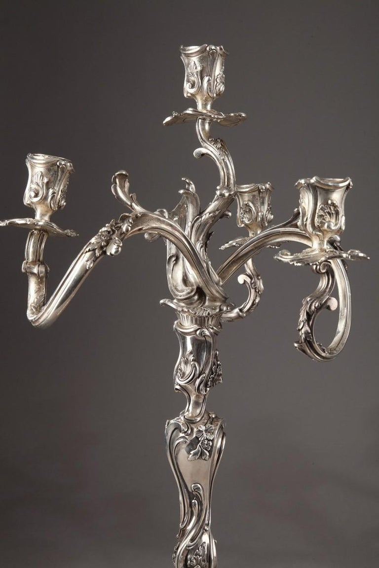 19th Century Silver Candelabra Signed BOIN TABURET For Sale 2