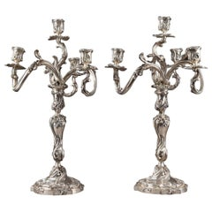 19th Century Silver Candelabra Signed BOIN TABURET