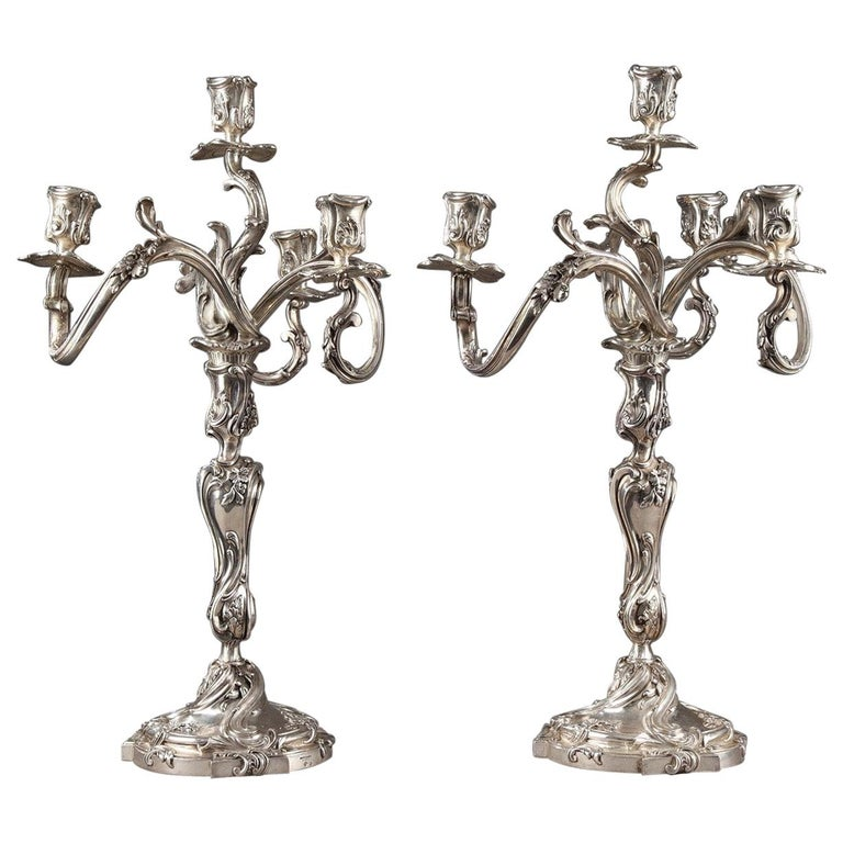 19th Century Silver Candelabra Signed BOIN TABURET For Sale