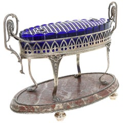 19th Century Silver Centerpiece with Marble and Cobalt Glass