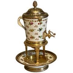 19th Century Silver-Gilt and Porcelain Liqueur Dispenser