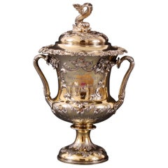 19th Century Silver Gilt Campana Shaped Lidded Vase by John Samuel Hunt