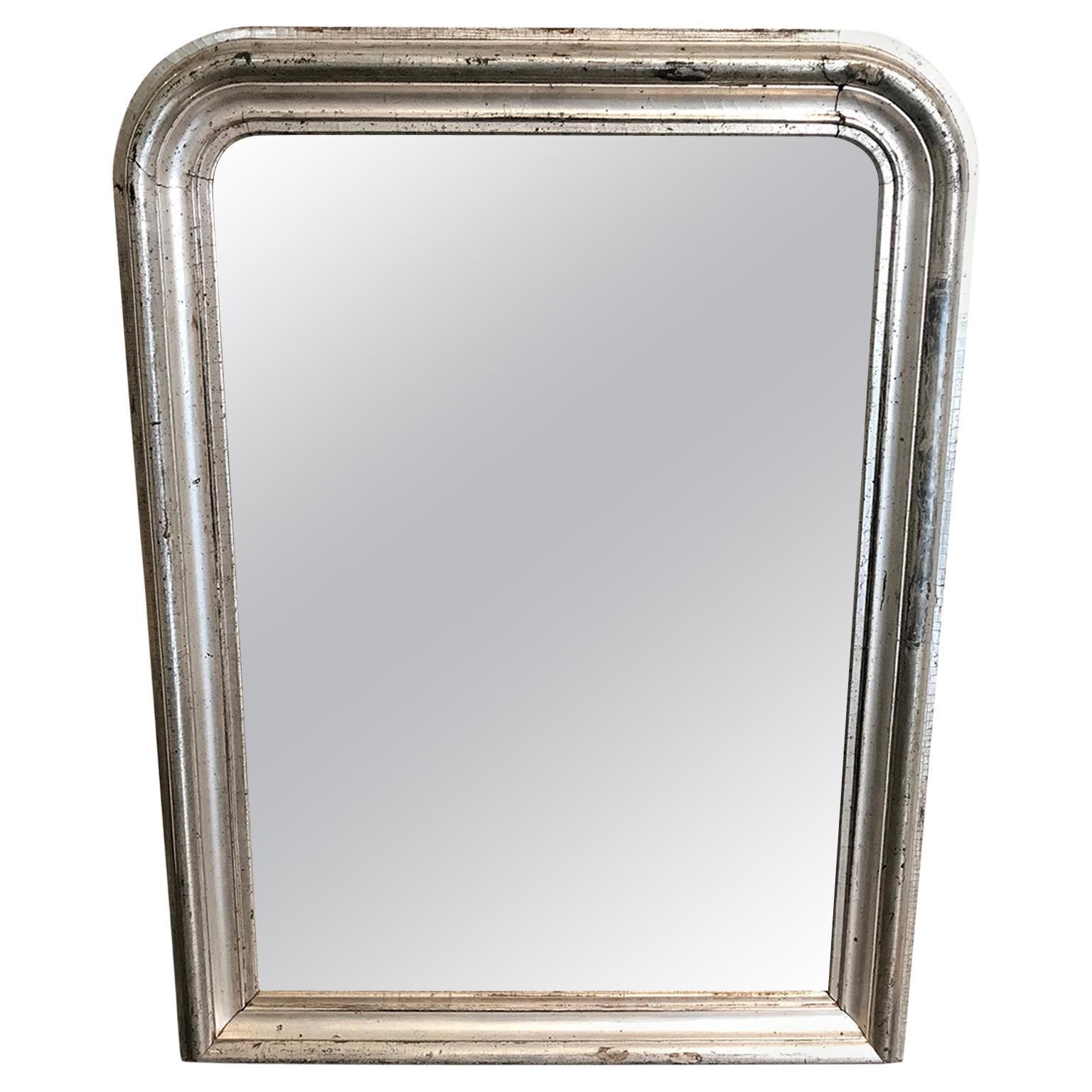 19th Century Silver Gilt Louis Philippe Mantel Wall Mirror