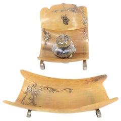 19th Century Silver Horn Desk Set